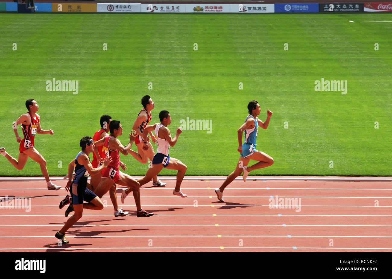 Chinese atheletes competing in 100m run during Good Luck Beijing Game in Bird's Nest, Beijing, China