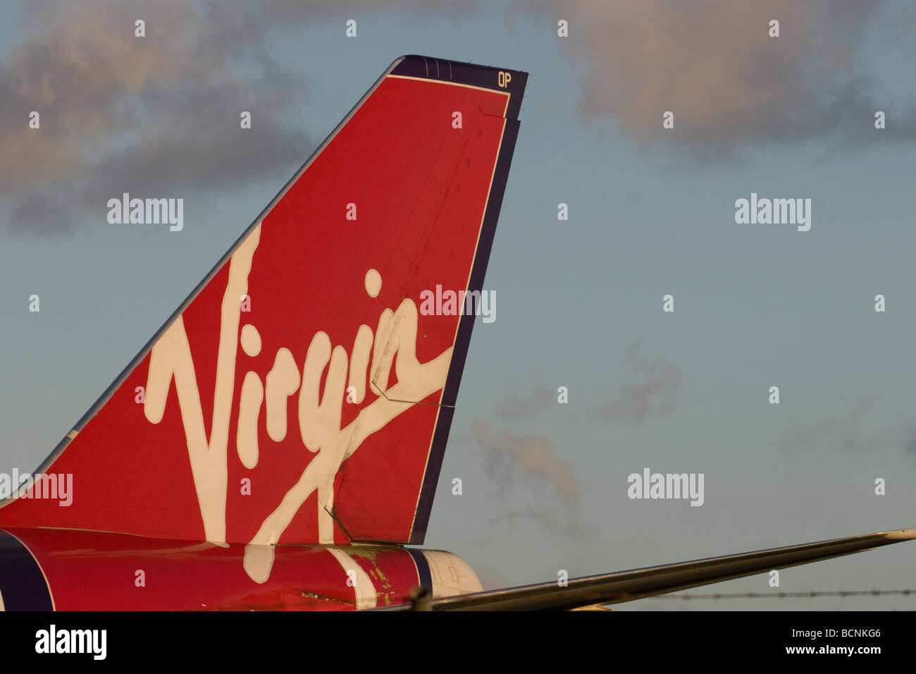 Close up of a Jumbo Boeing 747 Virgin Airlines - Stock Image