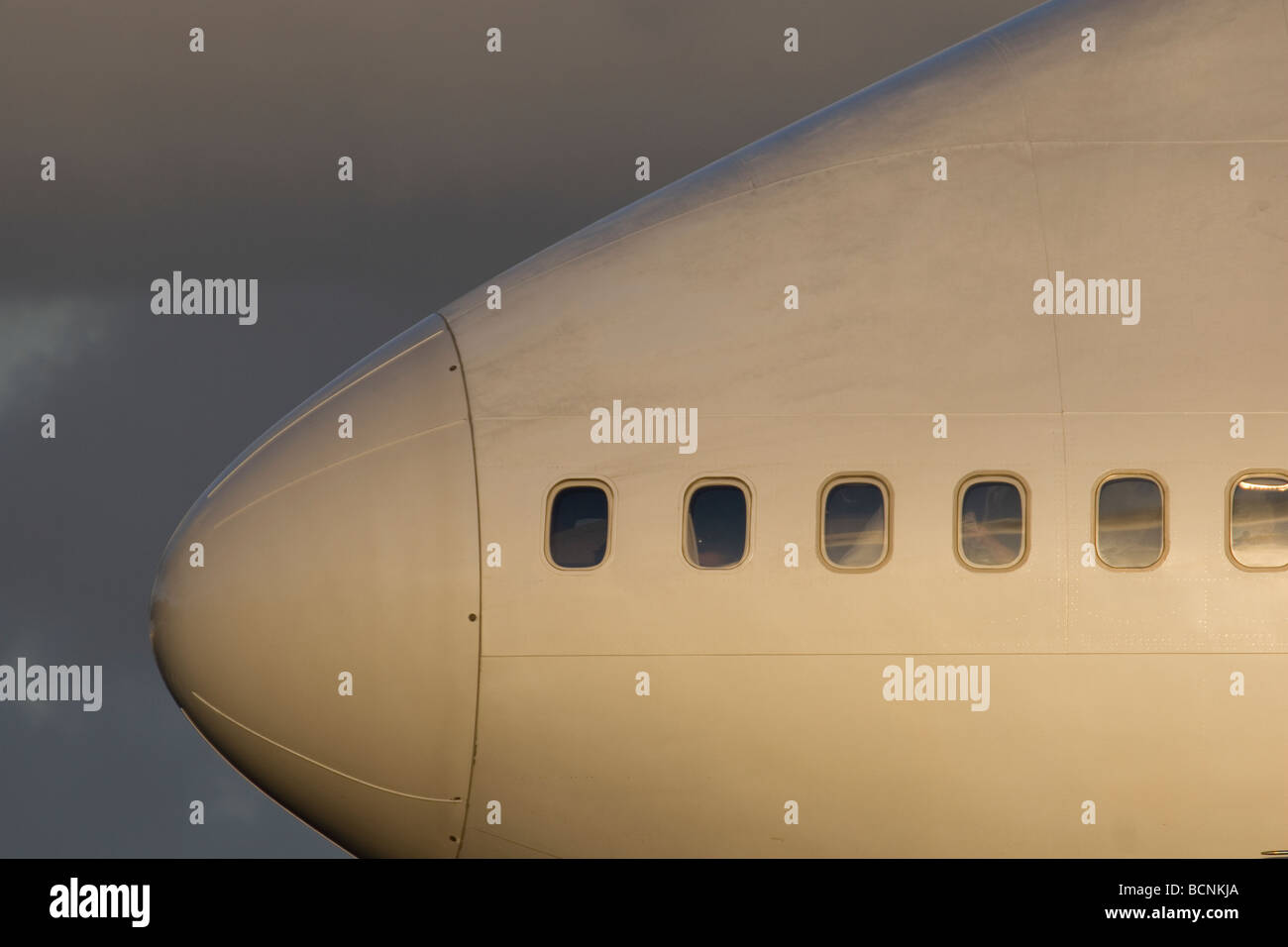 Close up of a Jumbo Boeing 747 nose - Stock Image