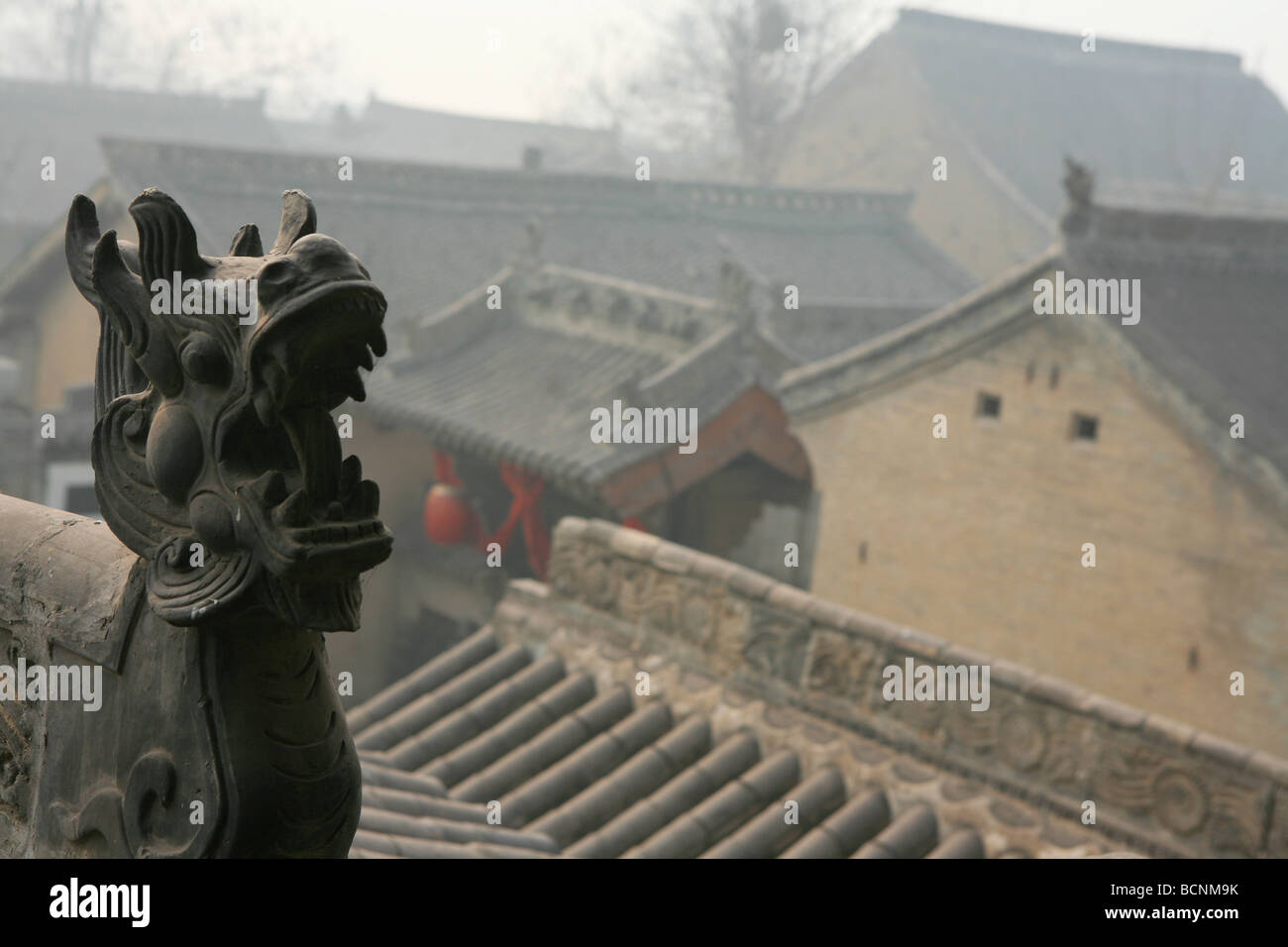View of the courtyards of Qing Dynasty dwelling house, Ding Village, Linfen County, Shanxi Province, China - Stock Image