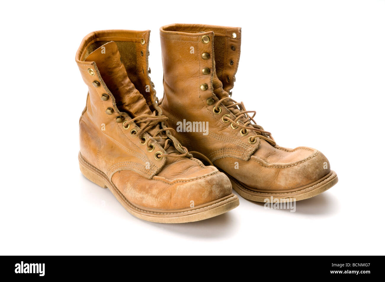 Old Boot Stock Photos Images Alamy Cut Engineer Apple Safety Boots Iron Leather Brown Steel Toed Work On White Background Image