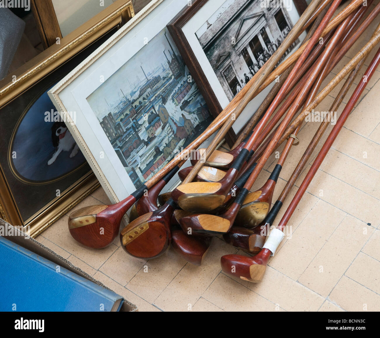 Antique Golf Clubs For Sale At A Fair In Kelso Scotland Stock Photo