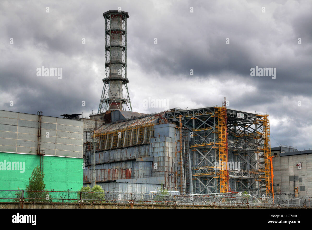 Nuclear reactor in Chernobyl. Chernobyl sarcophagus. - Stock Image