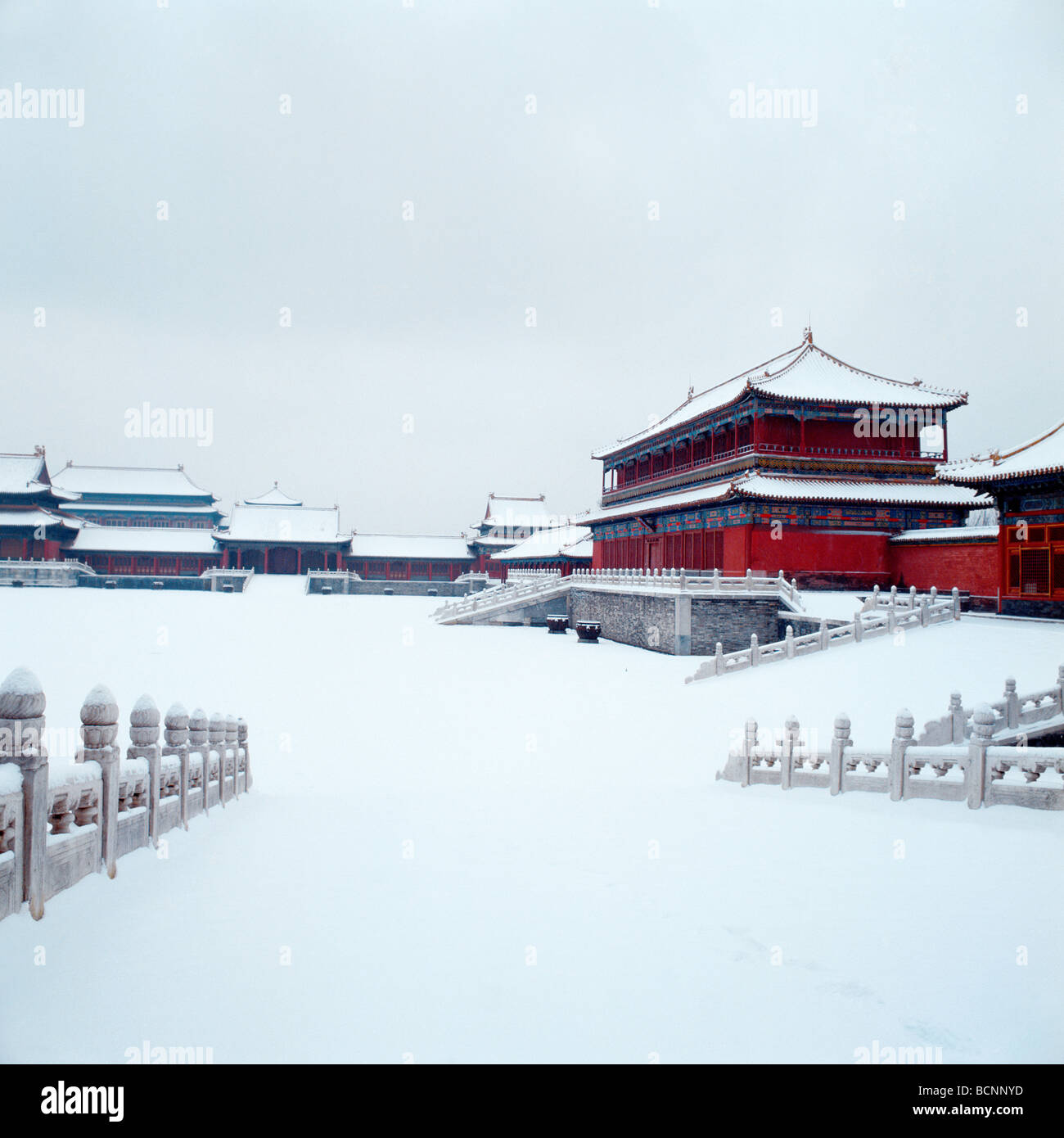 Pavilion of Manifesting Righteousness in winter, Forbidden City, Beijing, China - Stock Image