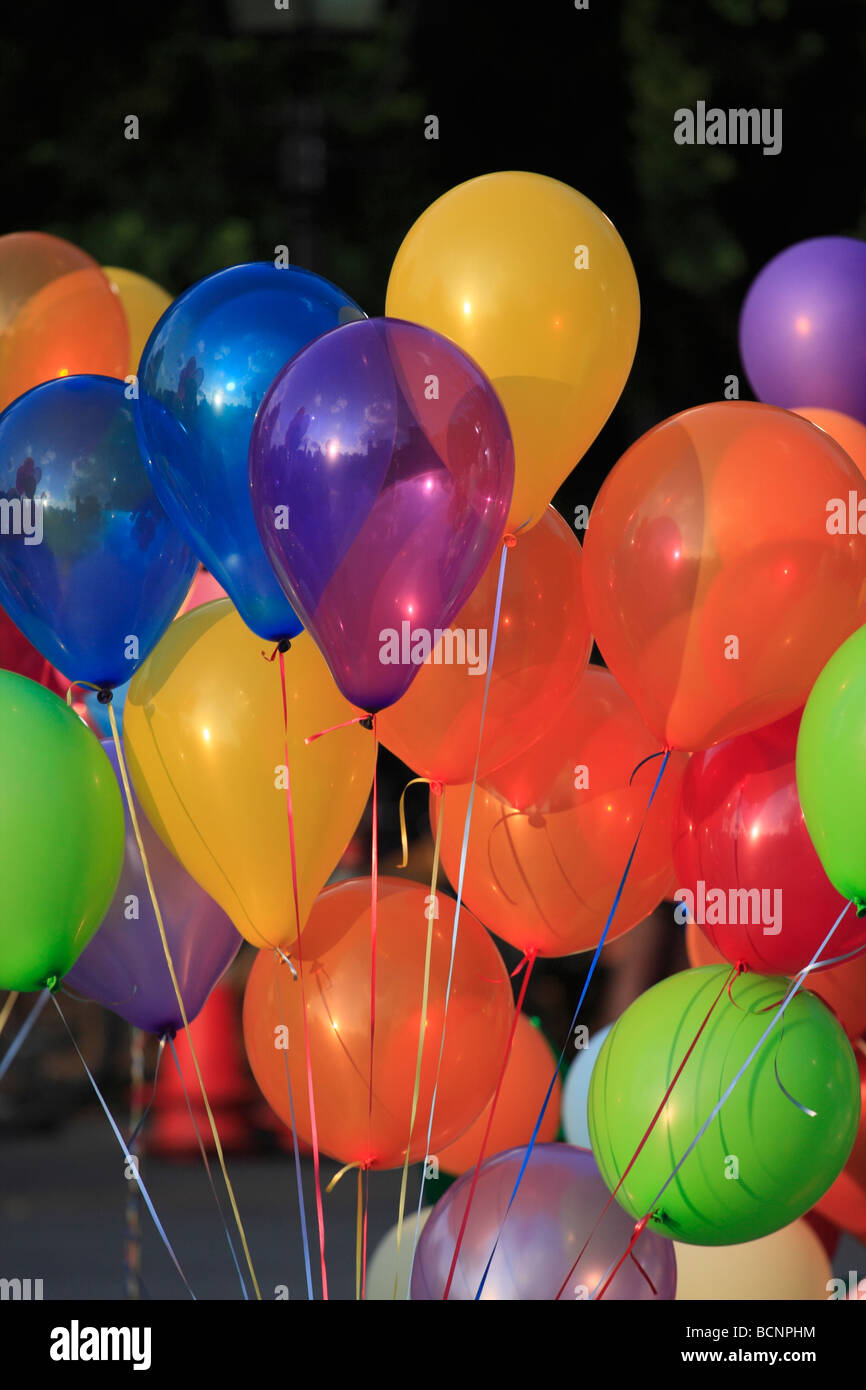 Balloons tied with string. - Stock Image