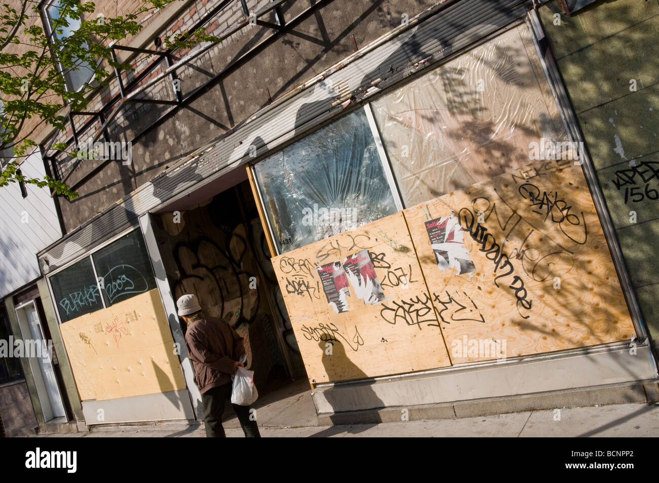 Closed busineesses in recession times on boulevard Saint laurent Montreal Quebec Canada - Stock Image
