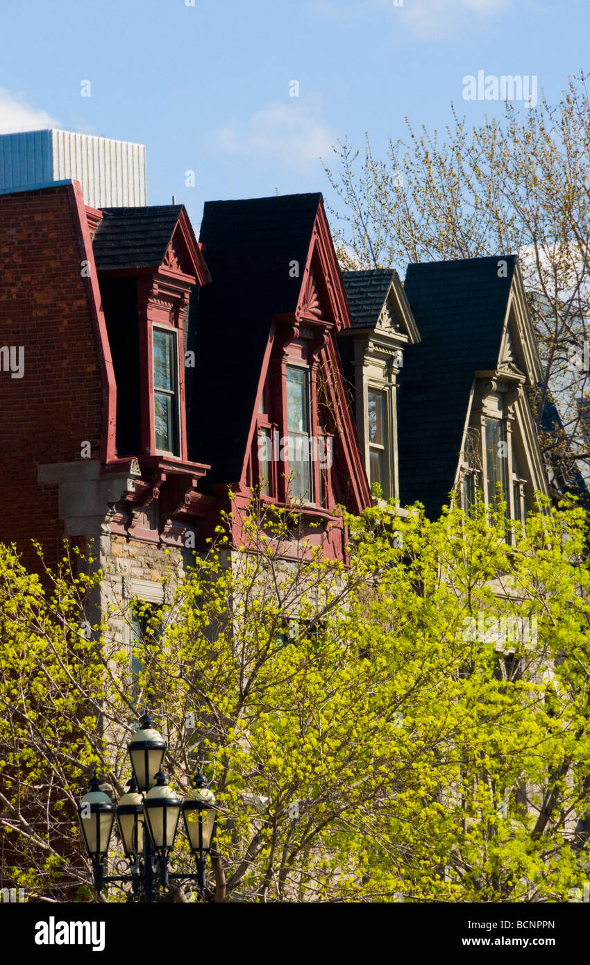 Typical row of houses on Sherbrooke avenue Montreal Quebec Canada - Stock Image