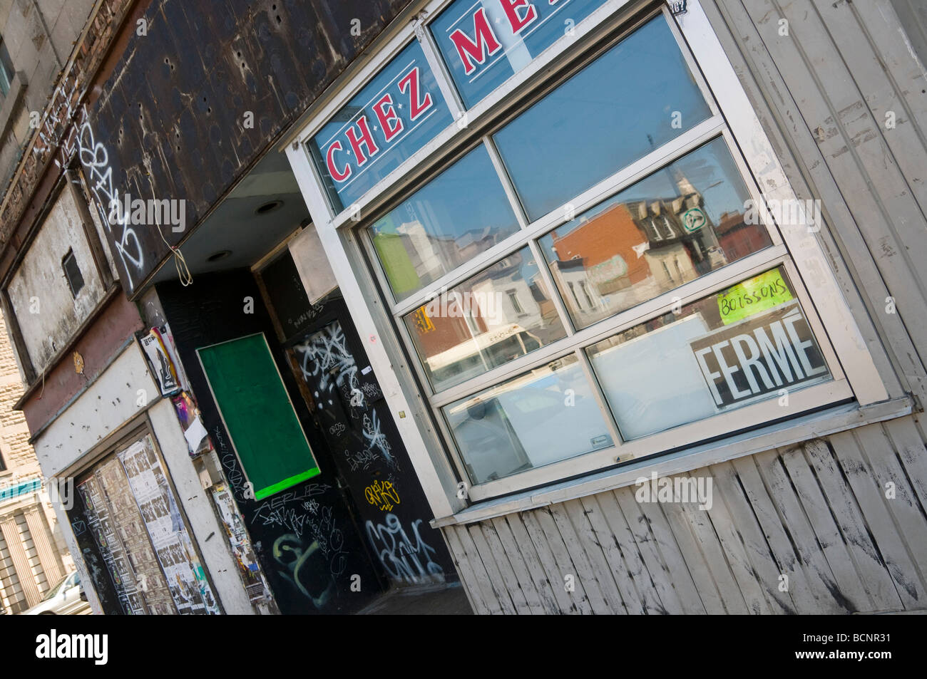 Closed business on boulevard Saint Laurent Montreal Quebec Canada - Stock Image