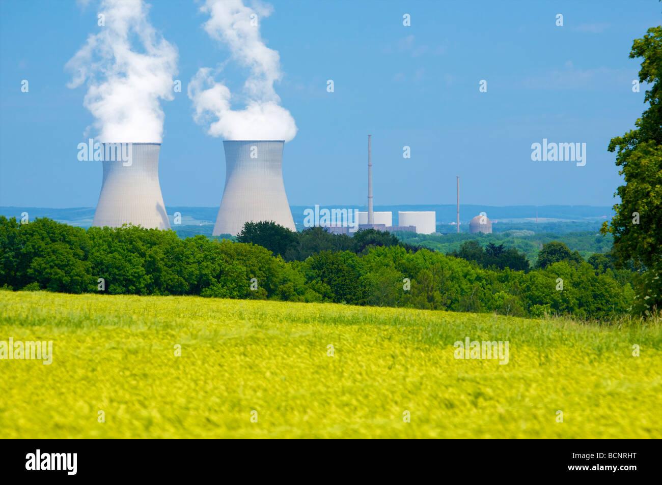 Gundremmingen nuclear power plant in Bavaria, Germany. 2 active BWR reactors. Kernkraftwerk Gundremmingen, Bayern, Stock Photo