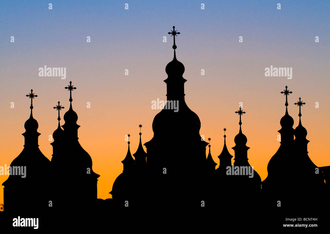 silhouette of church in Kiev the capital of Ukraine - Stock Image