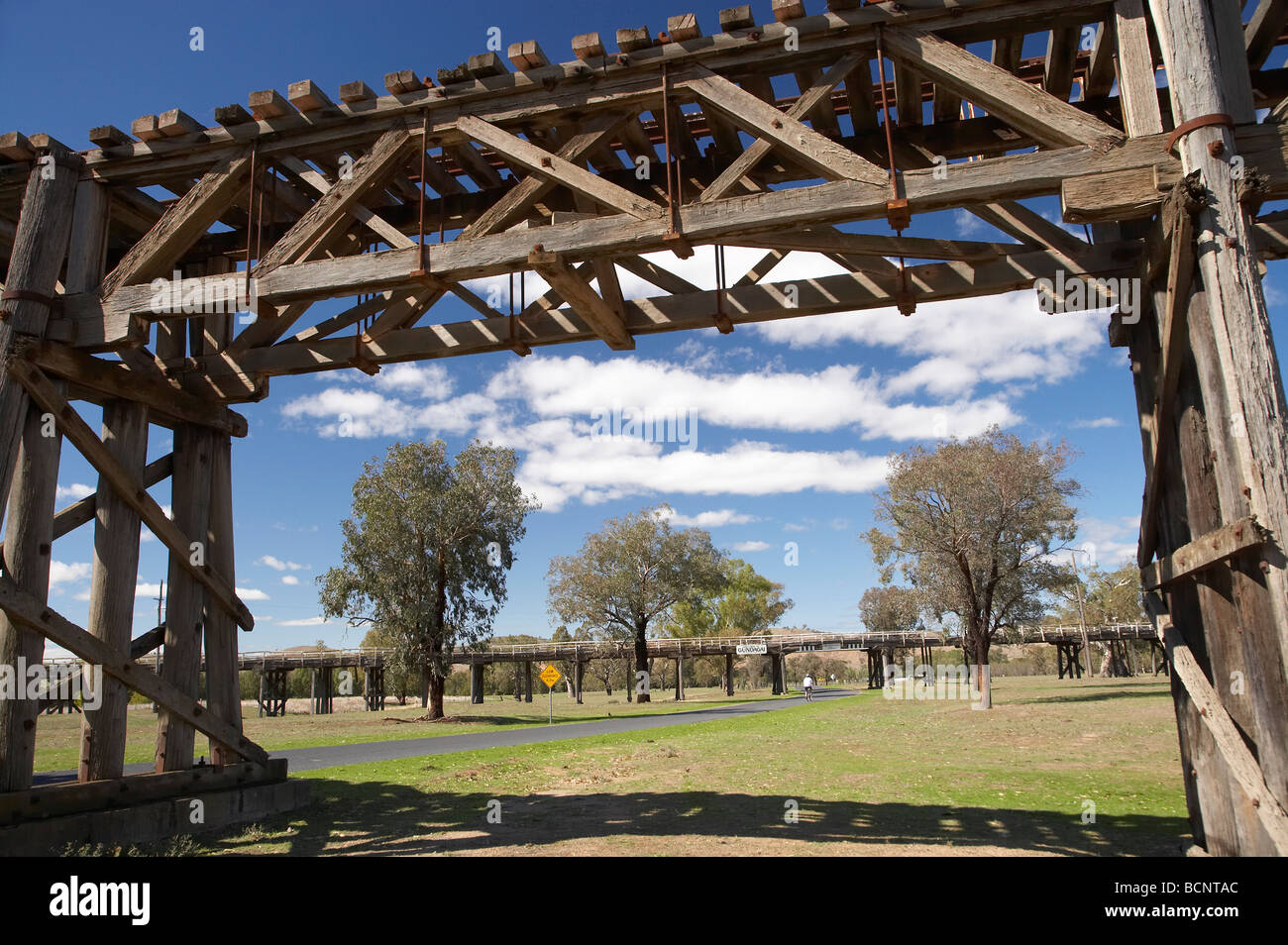 Historic Timber Railway Bridge 1903 and Prince Alfred Bridge Viaduct 1896 Gundagai Southern New South Wales Australia Stock Photo