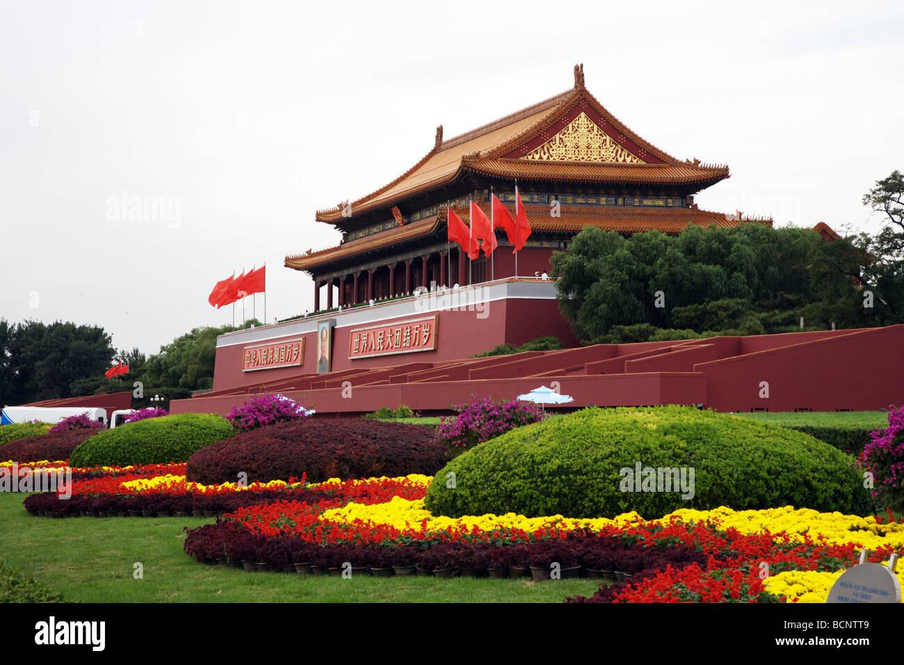 The Tian'anmen Rostrum in Tian'anmen Square, Beijing, China - Stock Image