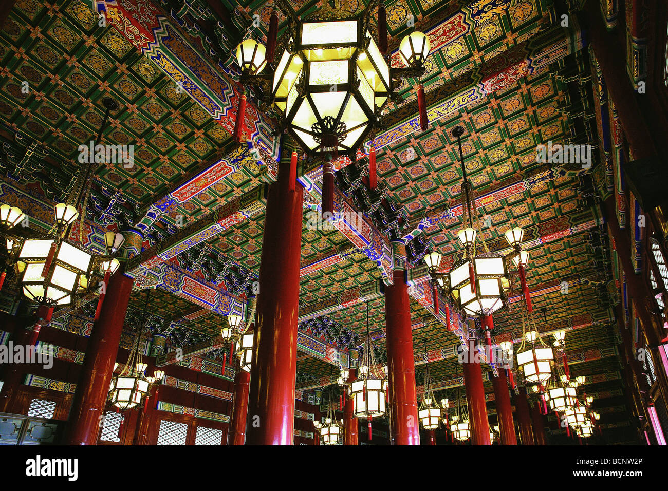 Interior of the Tian'anmen Rostrum in the Tian'anmen Square, Beijing, China - Stock Image