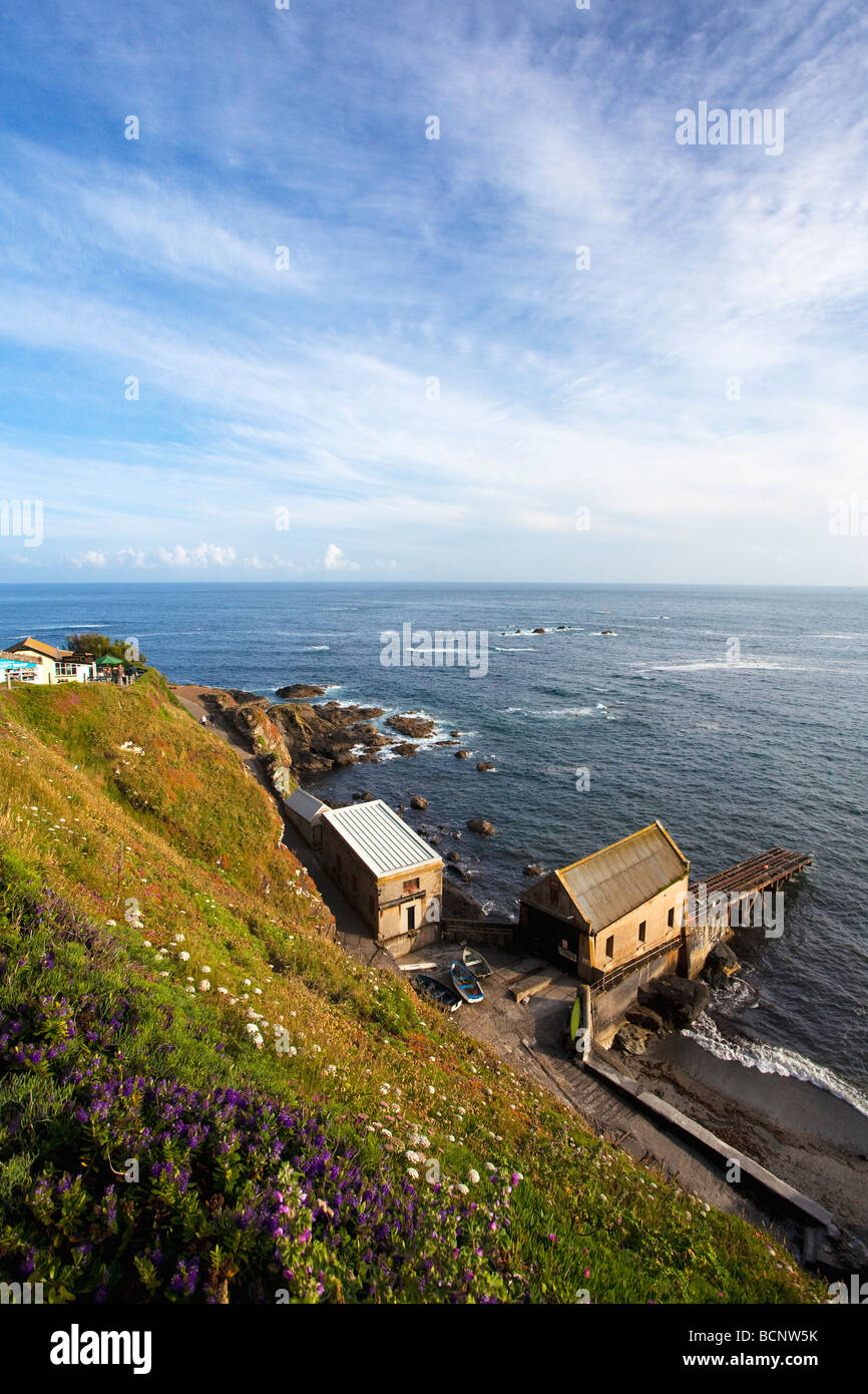 Lizard Point with Lifeboat Station and most southerly cafe in summer sunshine Cornwall England UK United Kingdom - Stock Image