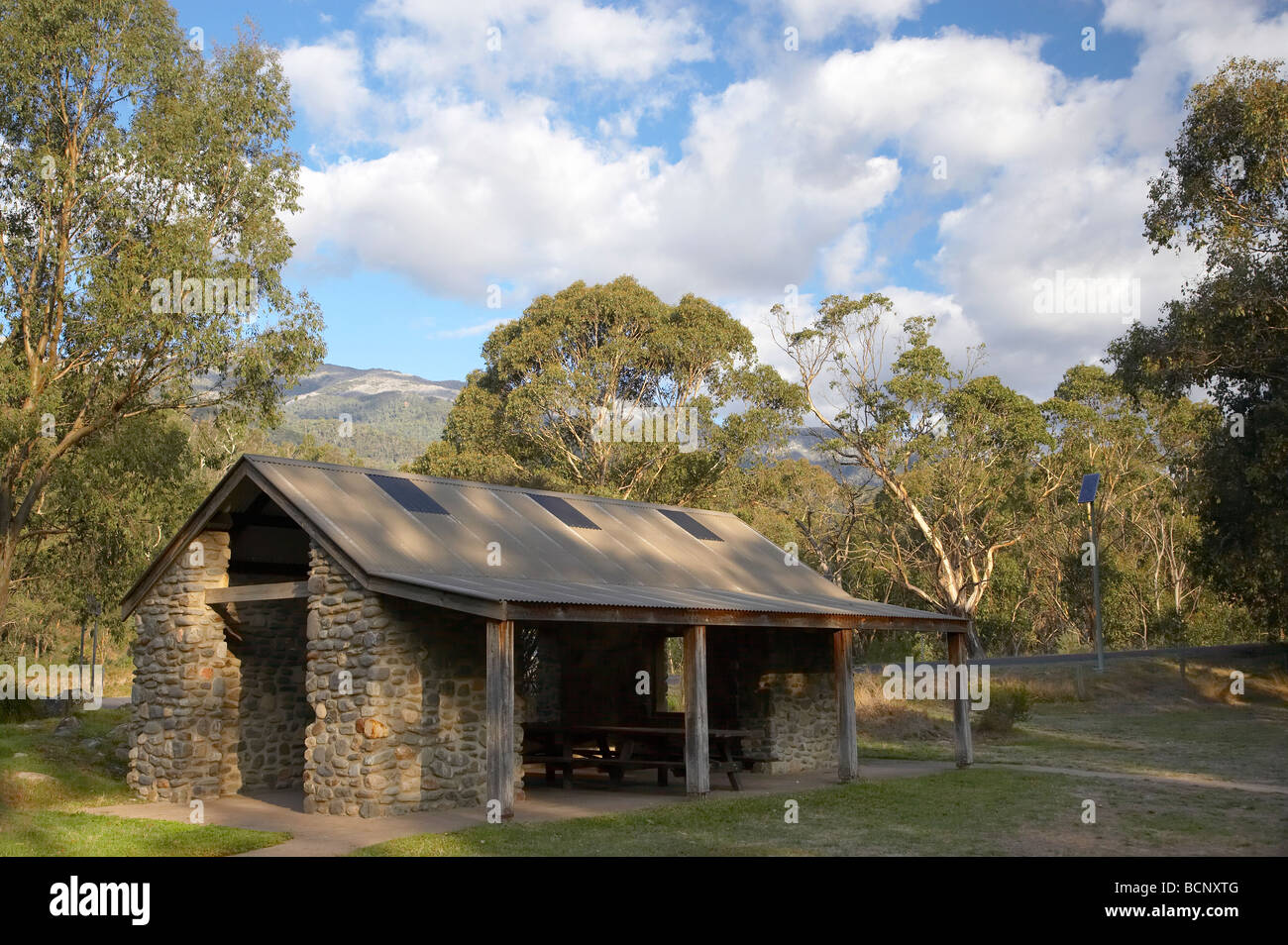 Picnic Shelter Geehi Flats Picnic Area Kosciuszko National Park Snowy Mountains New South Wales Australia - Stock Image