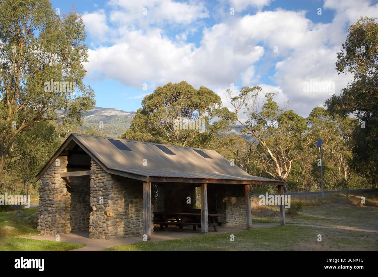 Picnic Shelter Geehi Flats Picnic Area Kosciuszko National Park Snowy Mountains New South Wales Australia - Stock Image