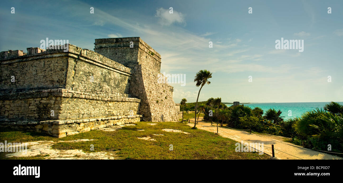 A panoramic image of the main temple structure in the ancient Mayan city at Tulum Mexico - Stock Image