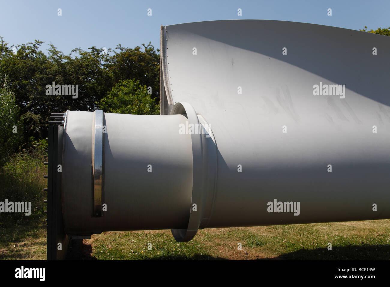 base of wind turbine blade - Stock Image