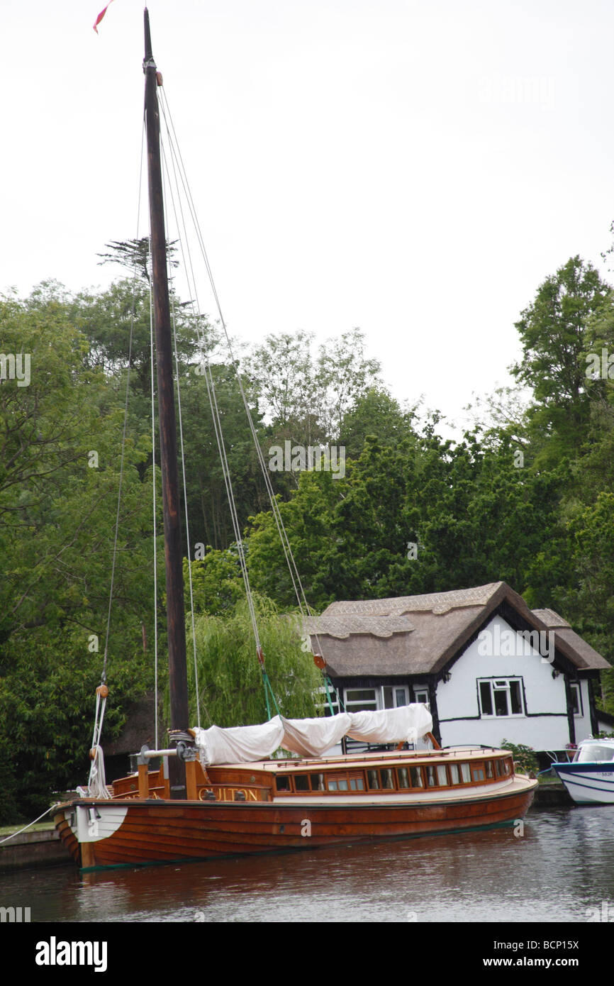 wooden sailing boat based on converted wherry Norfolk Broads - Stock Image