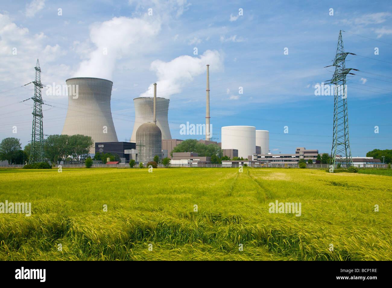 Gundremmingen nuclear power plant in Bavaria, Germany. 2 active BWR reactors. Kernkraftwerk Gundremmingen, Bayern, - Stock Image