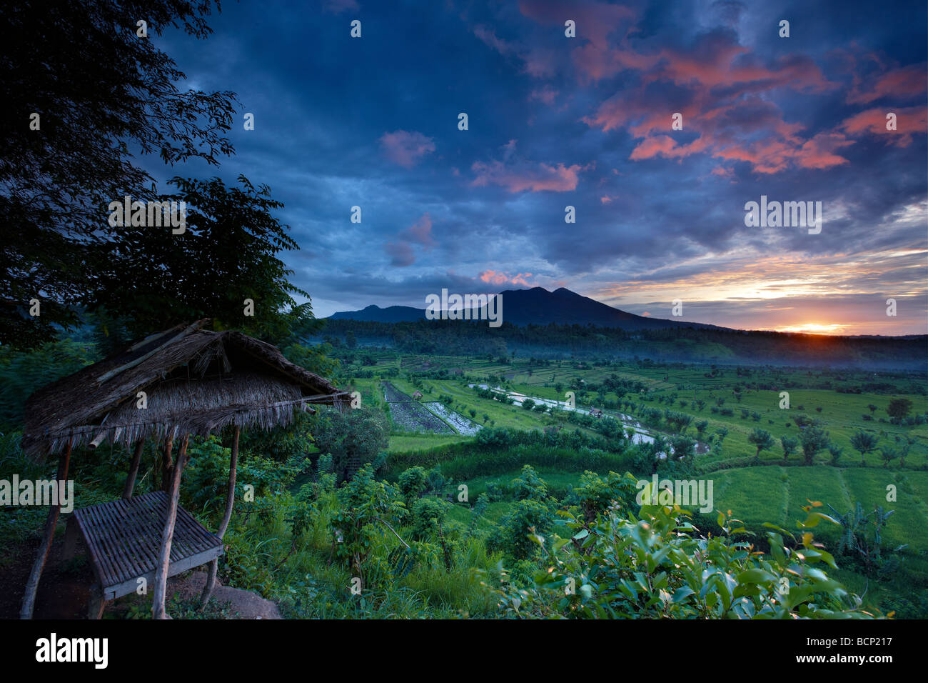 terraced rice fields near Tirtagangga at dawn with the sun rising over the volcanic peak of Gunung Lempuyang, Bali, Stock Photo