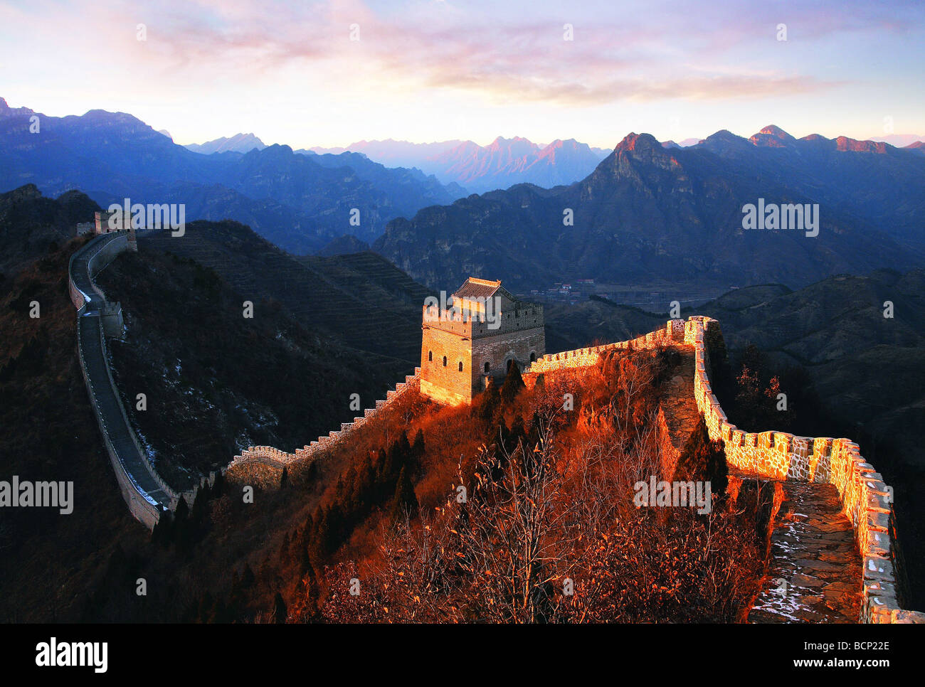 Huangyaguan Great Wall winding through the mountain, Ji County, Tianjin, China - Stock Image