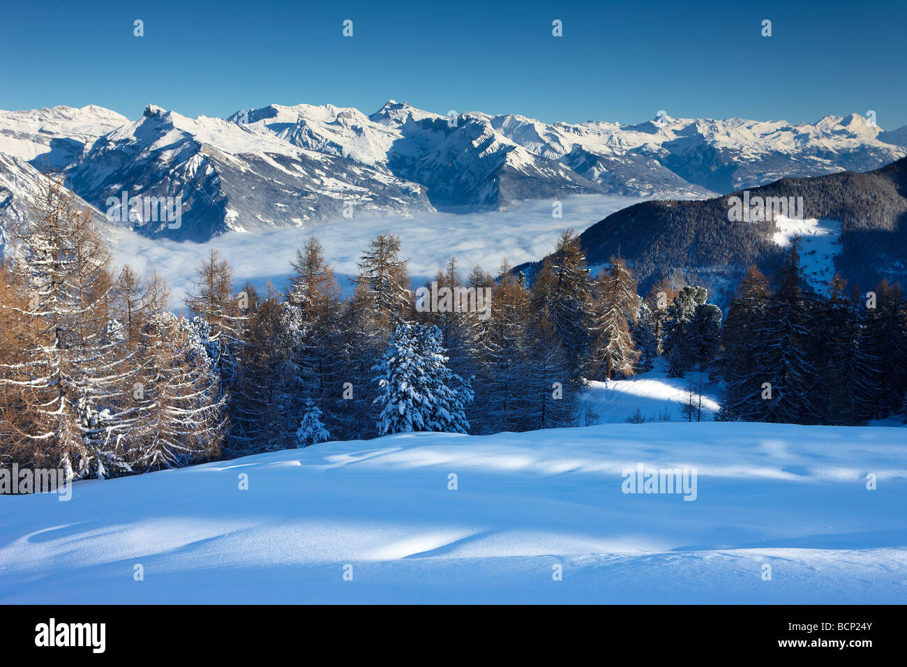 a fresh snowfalll on the slopes above the alpine village of La Tzoumas,with the Rhone Valley beyond, Valais Region, - Stock Image
