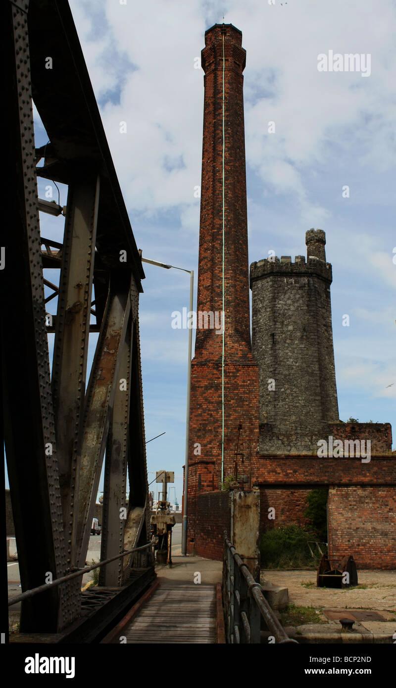 brick  chimneys at stanley docks in liverpool Stock Photo
