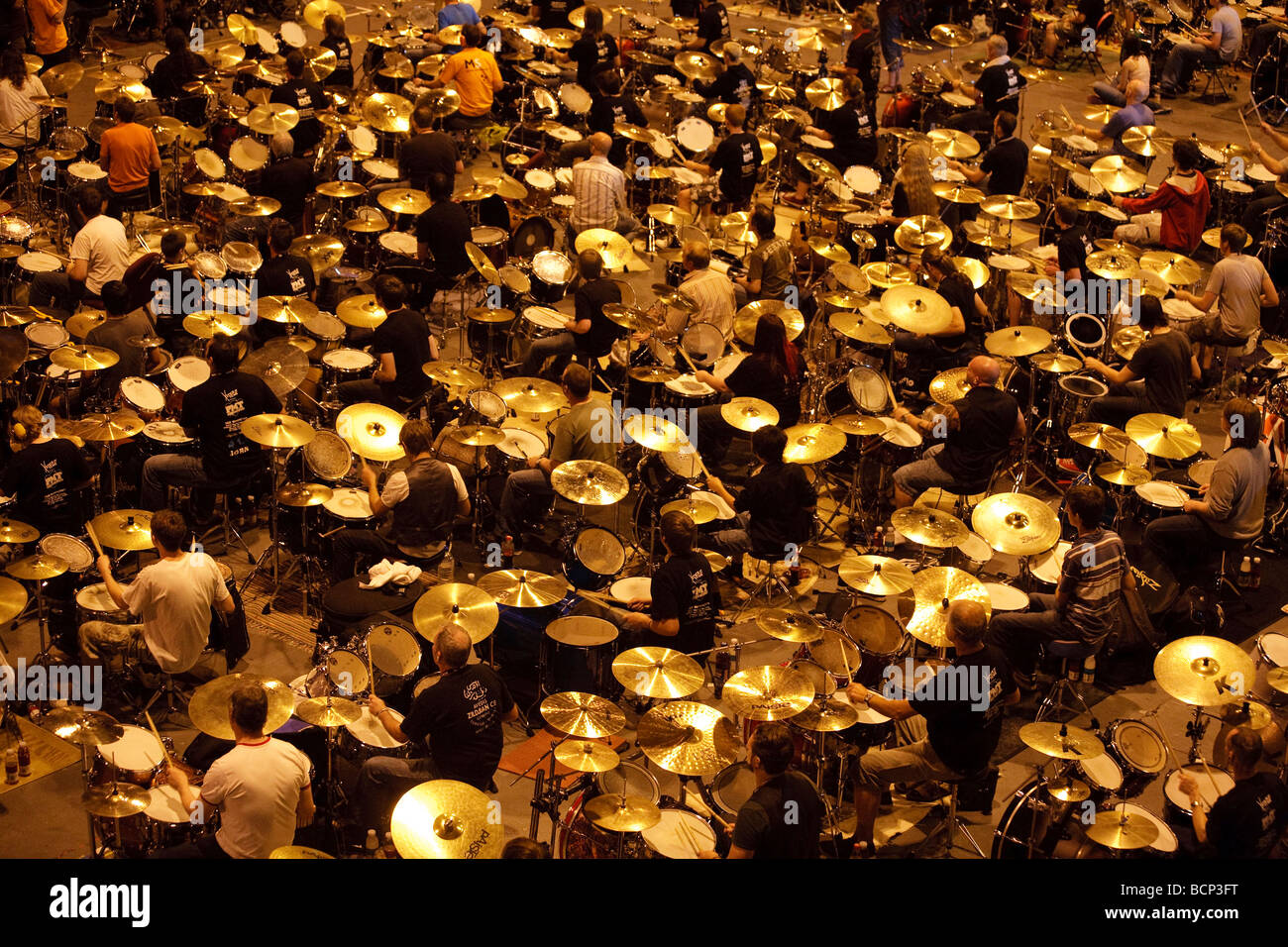 Some of the 600 drummers at the National Indoor Arena in Birmingham, who attempted to break the world drumming record - Stock Image