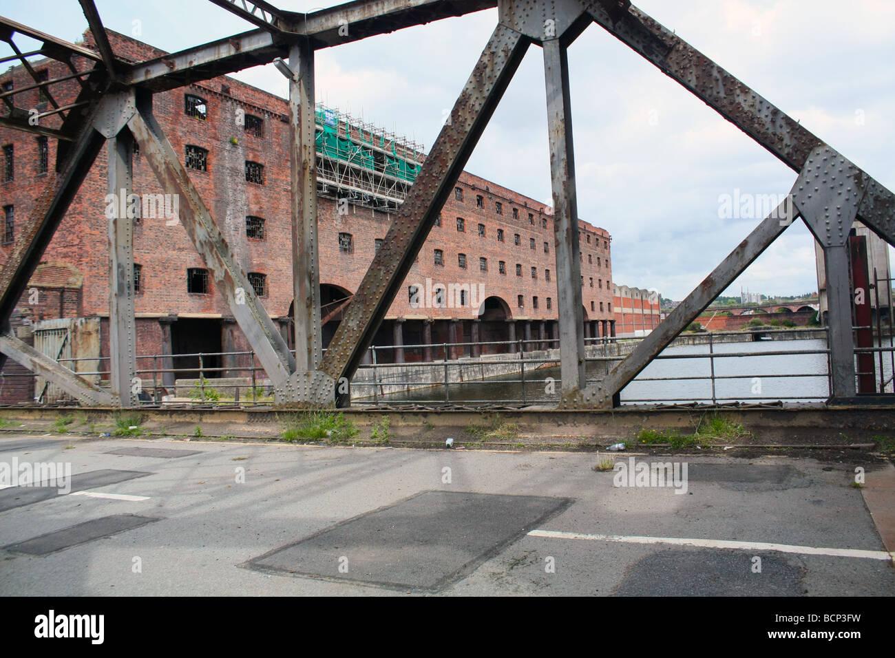 bascule bridge on Liverpool dock road  by stanley docks Stock Photo