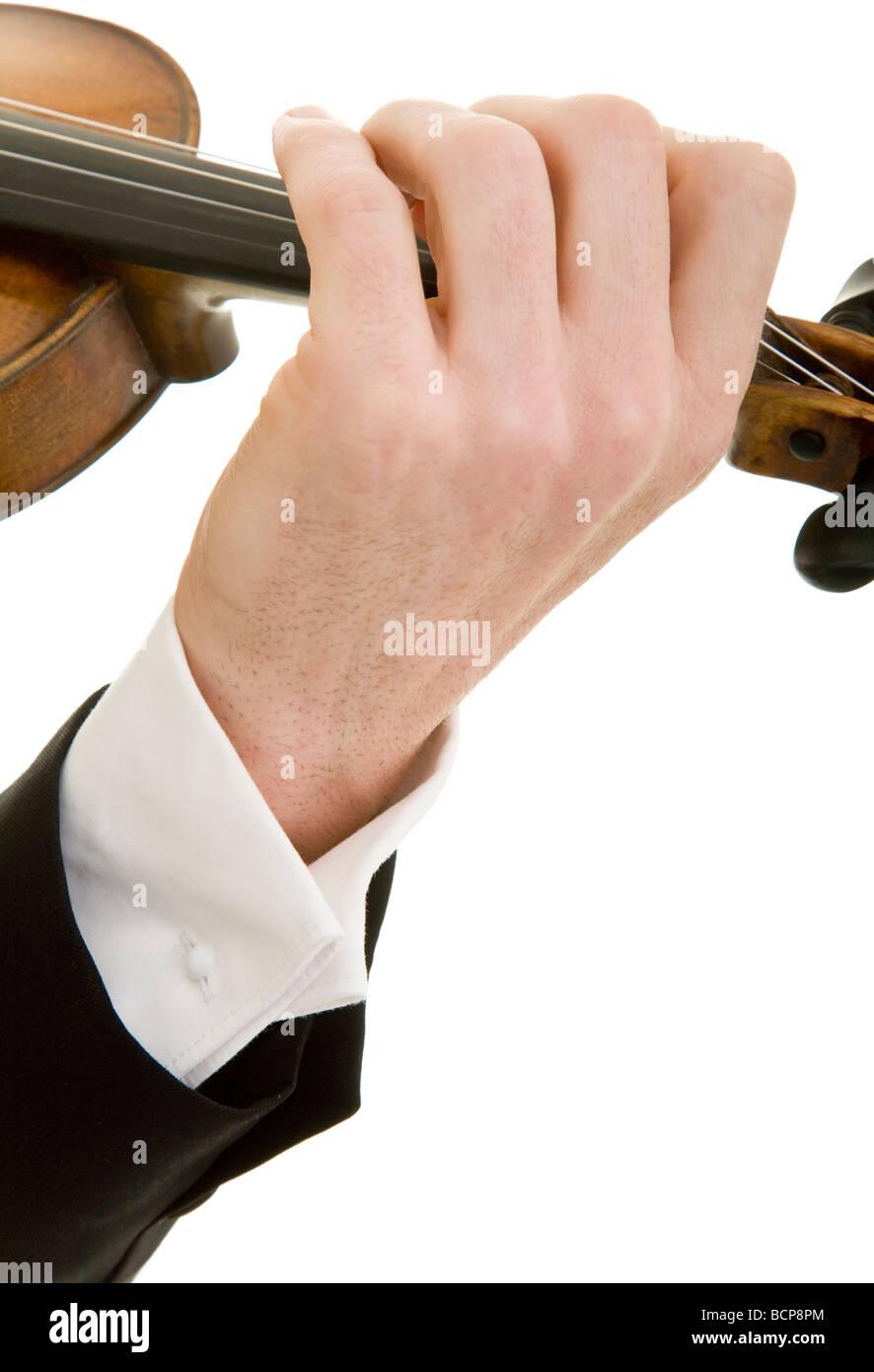 Nahaufnahme einer Hand die Violine spielt - Stock Image
