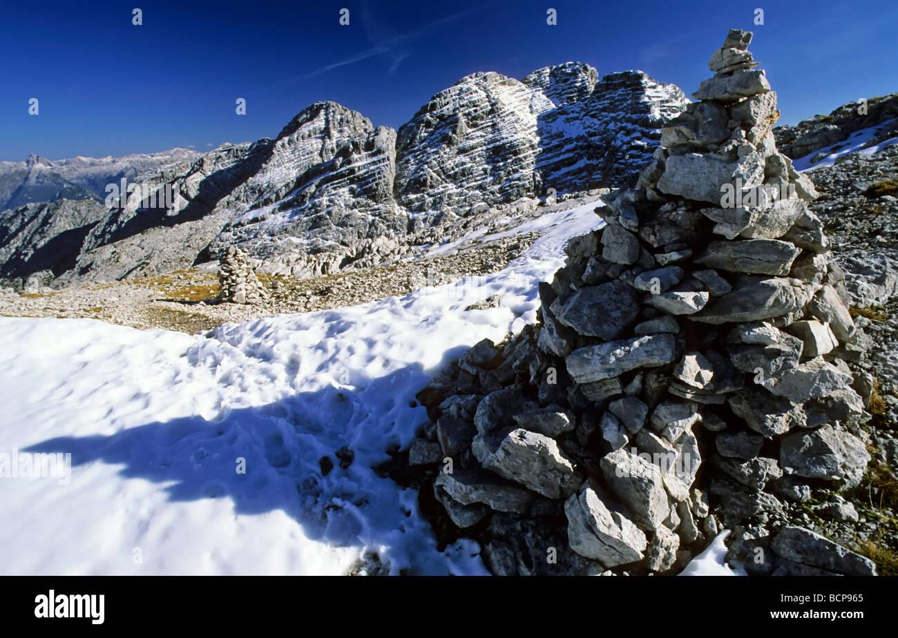 Salzburger Land Oesterreich Blick zum grossen Ochsenhorn Loferer Steinberge view to grosser Ochsenhorn austria - Stock Image