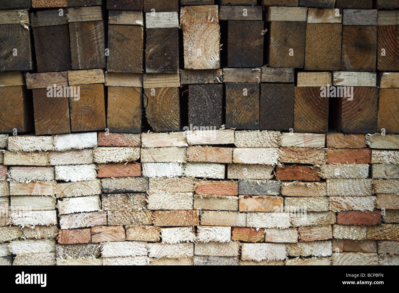 Dismantled pallets cut up and stored for use in a wood burning stove. - Stock Image