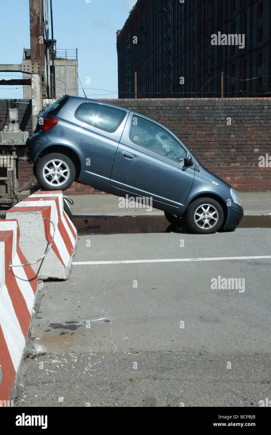 stolen car  by stanley dock  liverpool Stock Photo