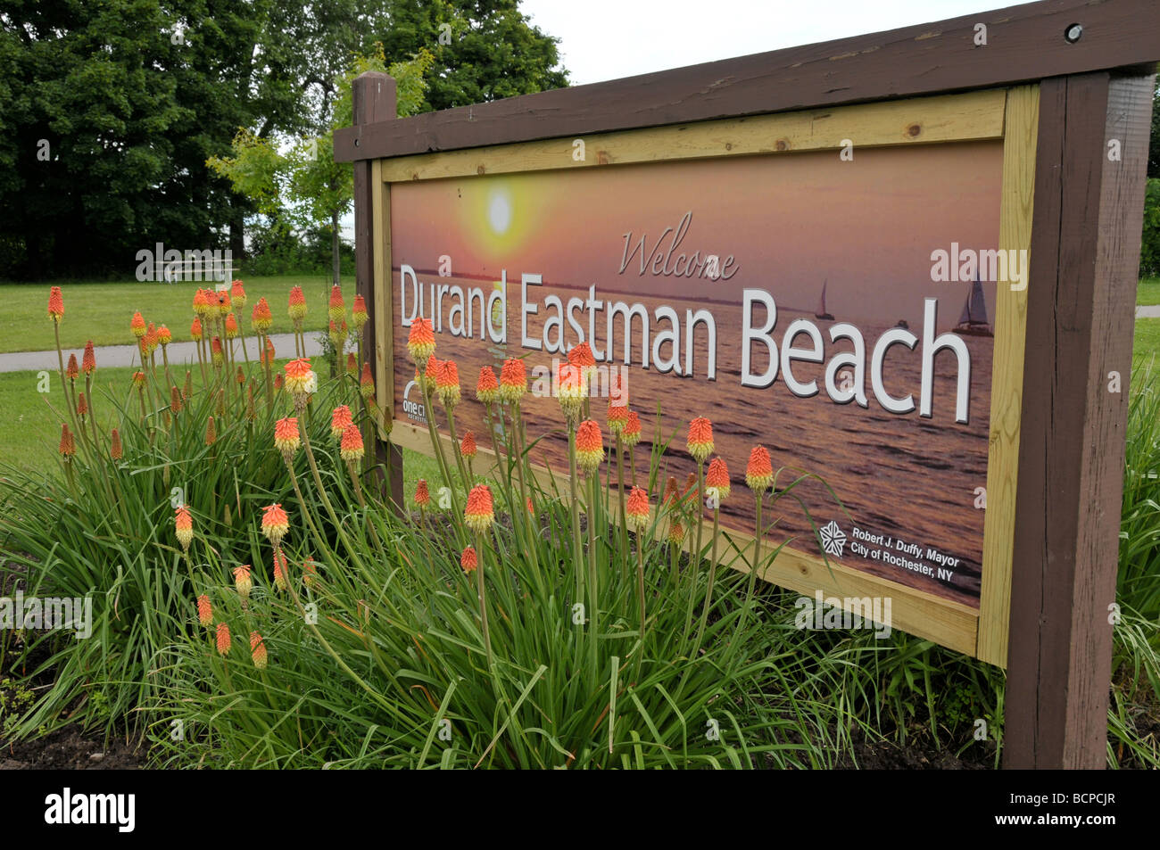 Sign, Durand Eastman Beach, Rochester, NY USA - Stock Image