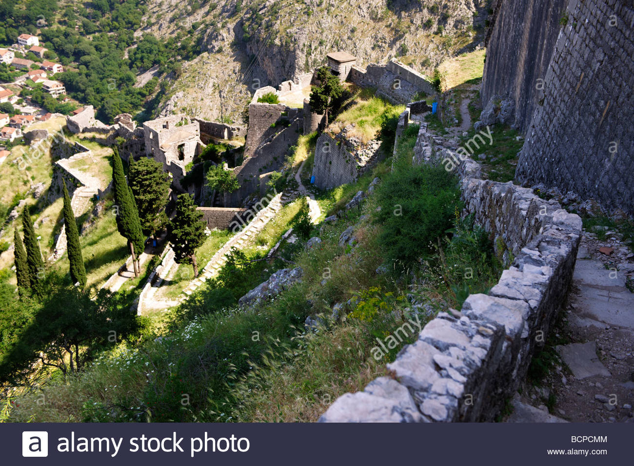Kotor bay - Ariel view  of the fortifications above the city - Stock Image