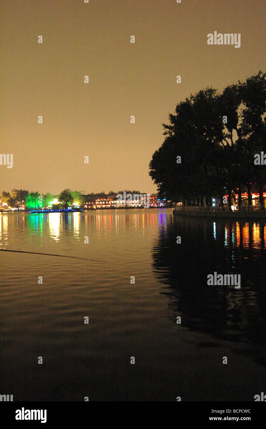 Night scene at Houhai bar area, Beijing, China - Stock Image