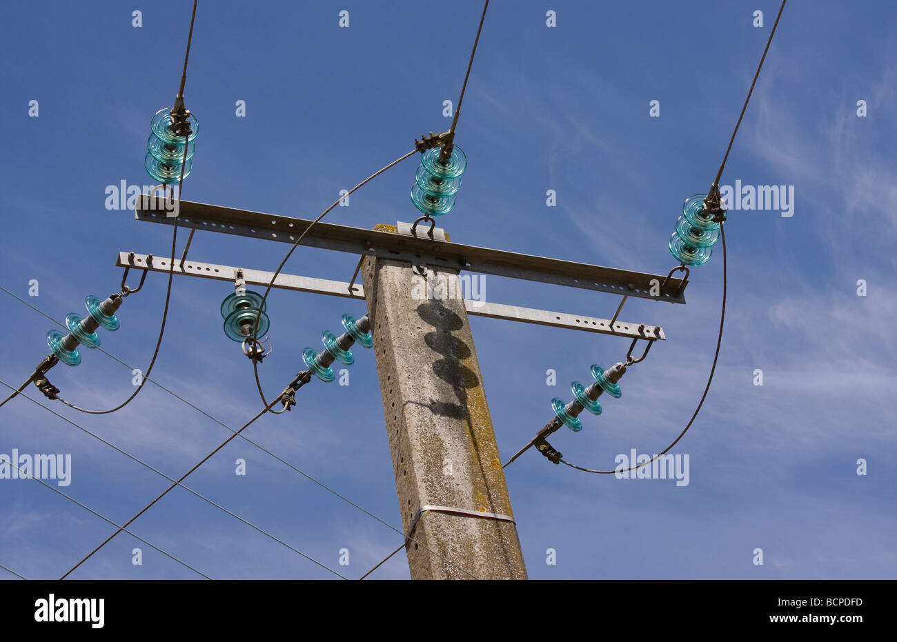 Power line and glass insulators - Stock Image