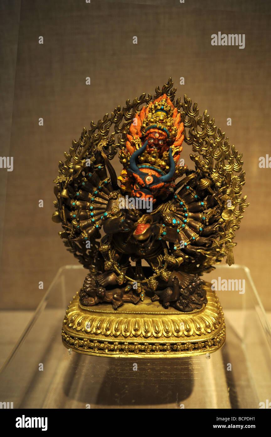 Gold Yanmāntaka statue, Capital Museum, Beijing, China - Stock Image