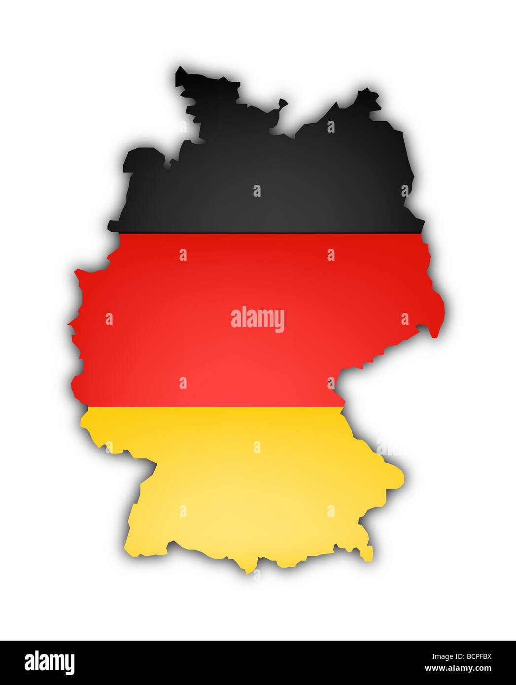 flag and map of Germany on white background - Stock Image