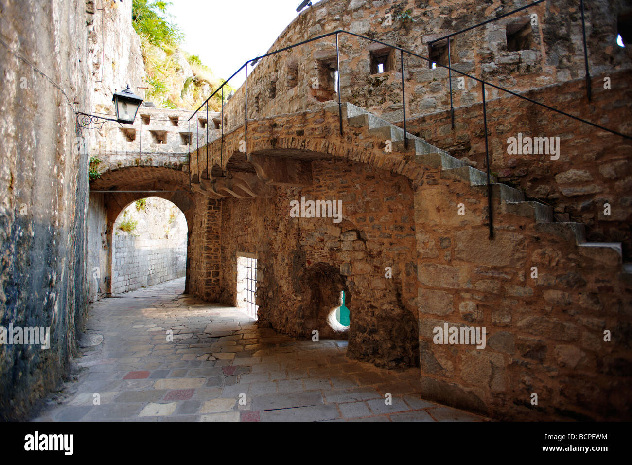 Old medieval town walls and gate - Kotor - Montenegro - Stock Image