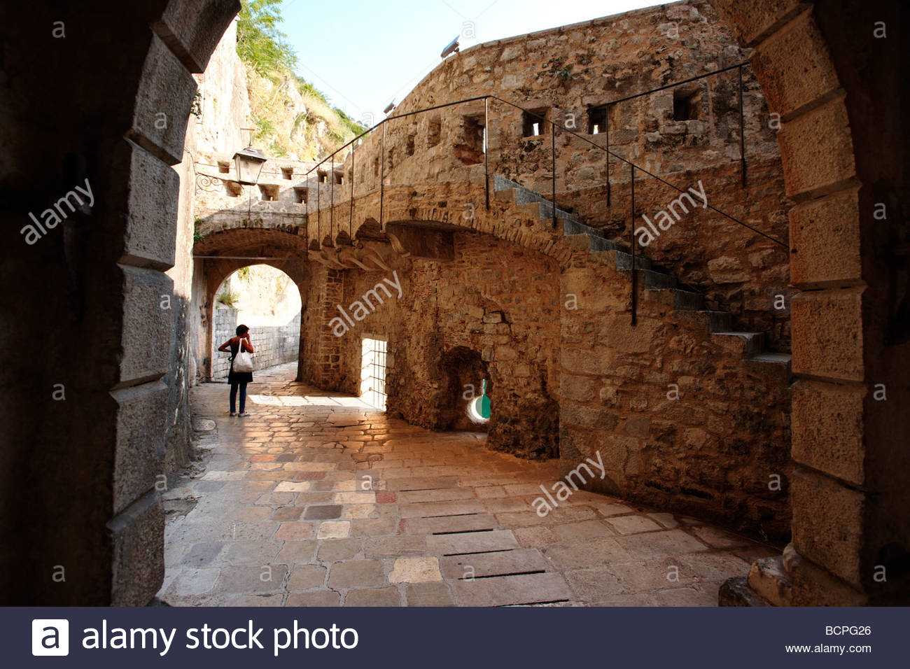 Old medieval town walls and gate Kotor Montenegro - Stock Image