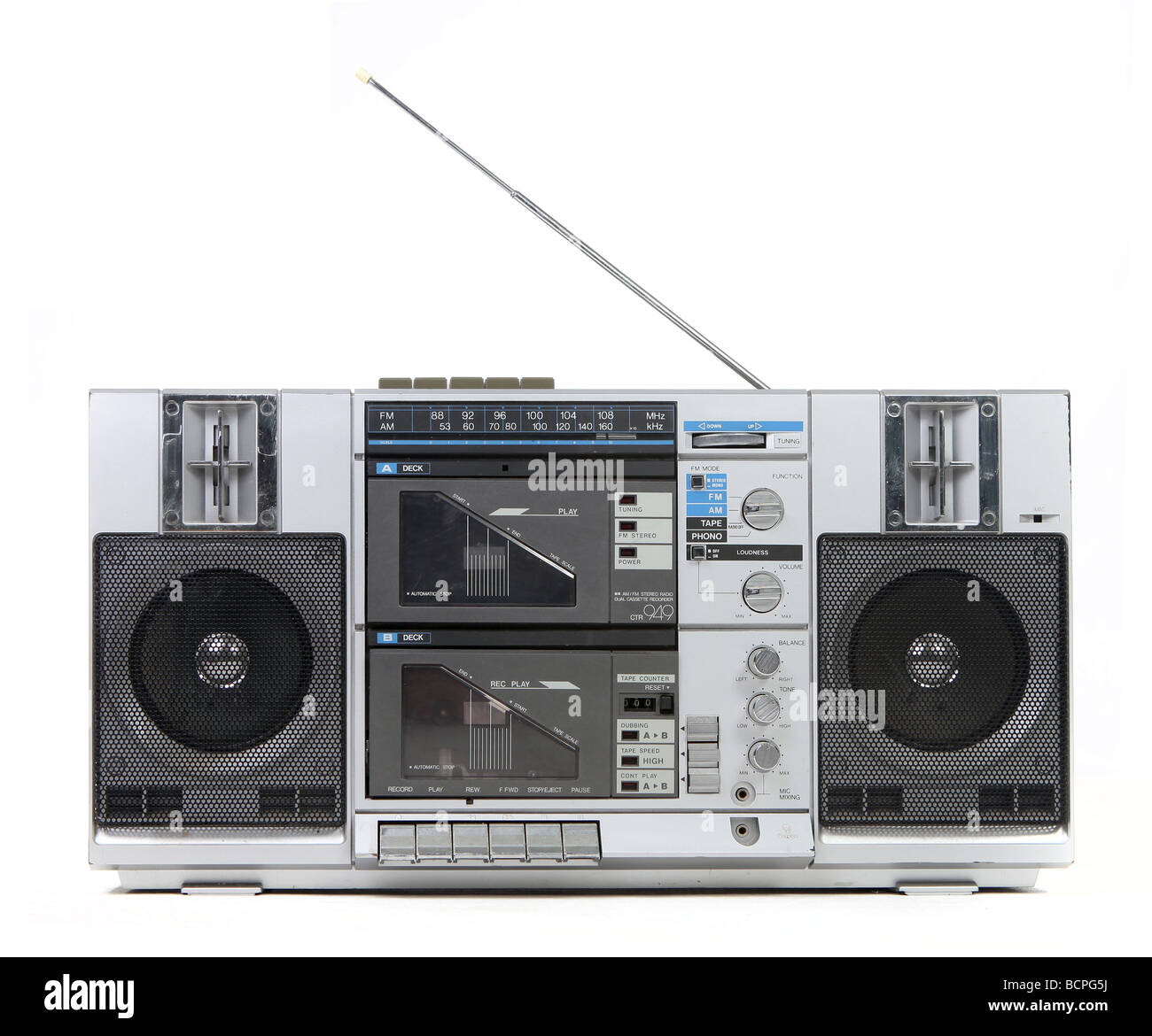 Front View of a Vintage Boom Box Cassette Tape Player Isolated on White Background - Stock Image