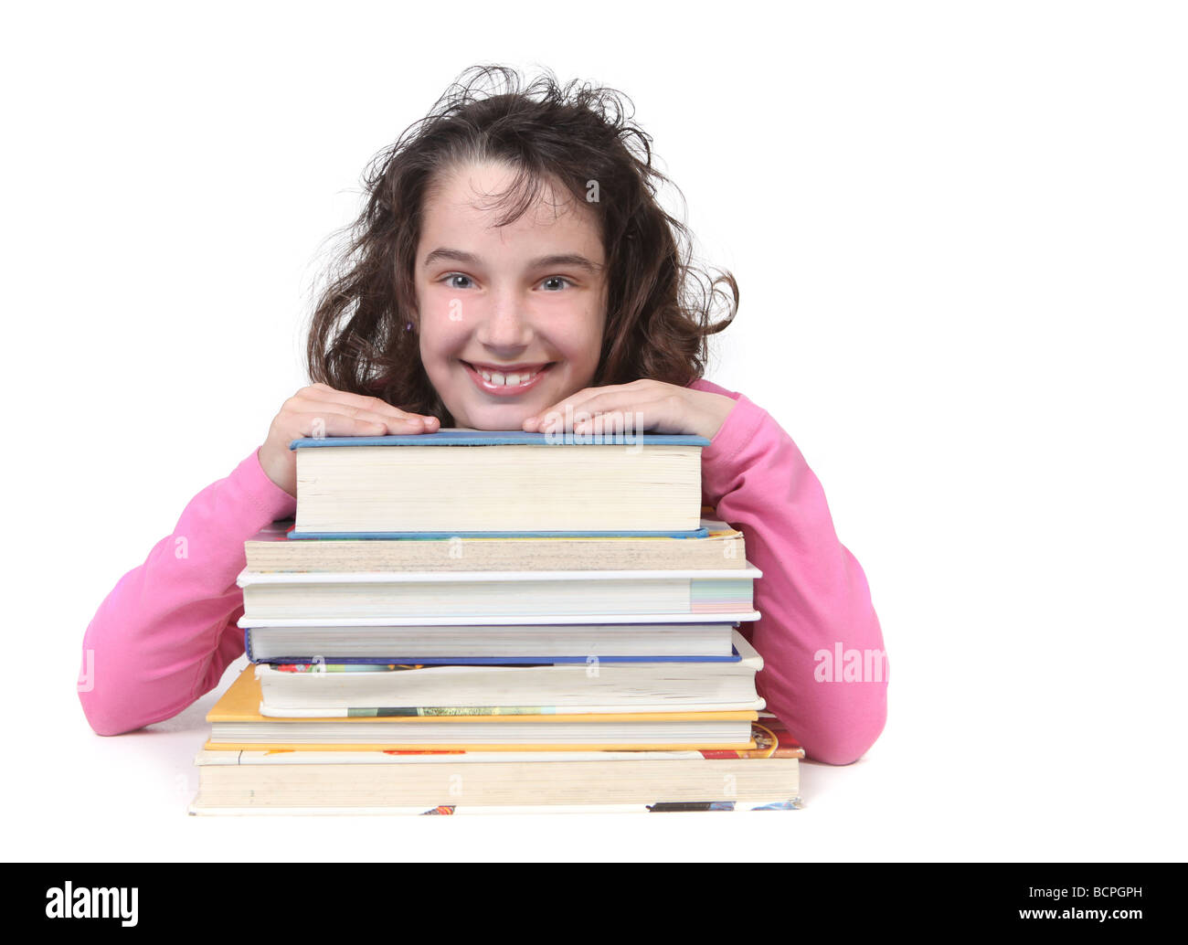 Happy School Age Child Looking at the Viewer With Copy Space for your Text - Stock Image