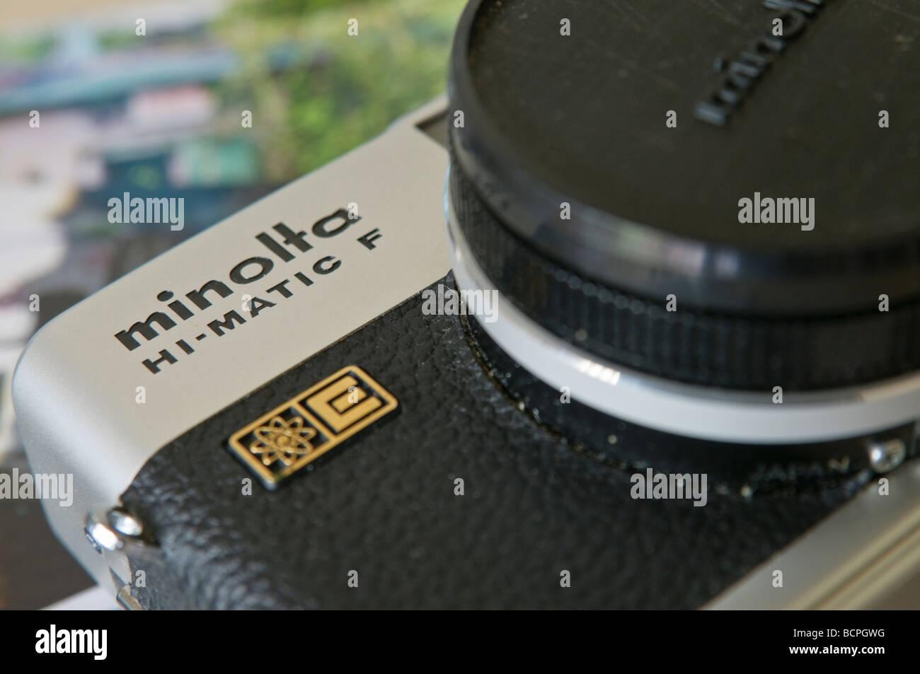 Closeup of a Minolta Hi-matic F, 35mm rangefinder camera, manufactured and sold in 1972 - Stock Image