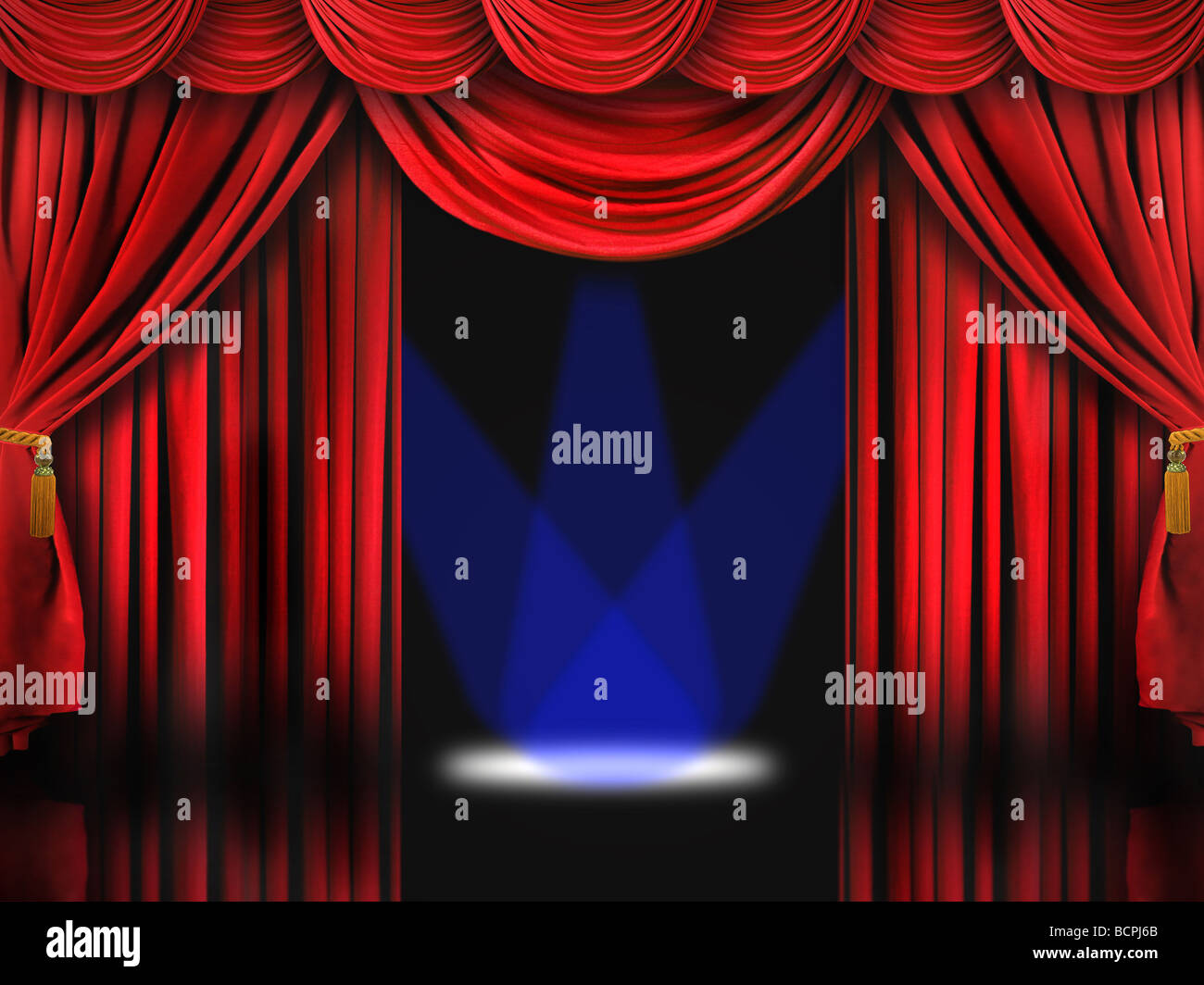 Dramatic Red Theater Stage With Blue Spot Lights - Stock Image