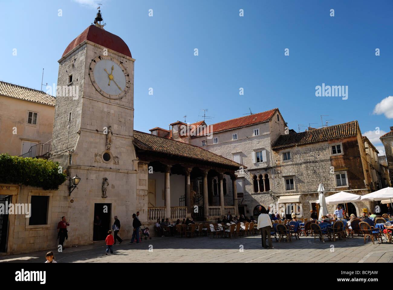 Loggia and Clock Tower at Trogir on Dalmatian Coast of Croatia - Stock Image