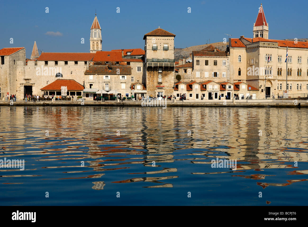 Riva seafront of Trogir on Dalmatian Coast of Croatia - Stock Image