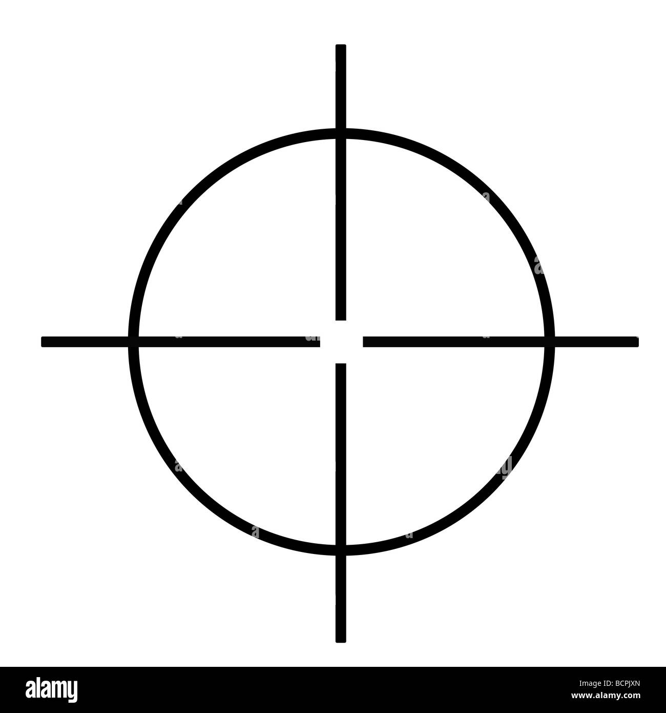 Sniper rifle cross hairs isolated on white background - Stock Image