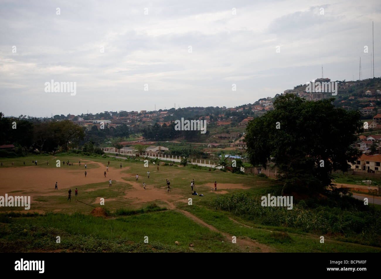 School playing fields on overcast day - Stock Image